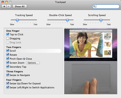 Trackpad Gesture Preferences