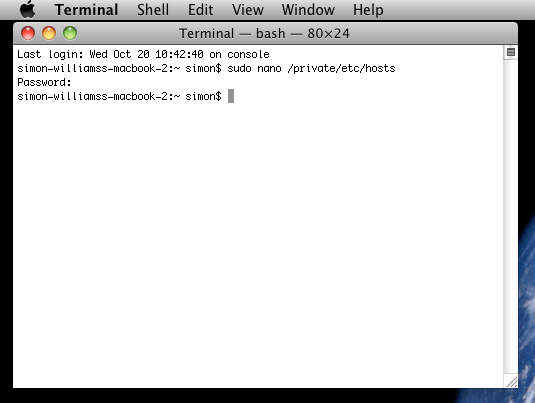 The Mac OS X Terminal Window after Editing the Hosts File.png