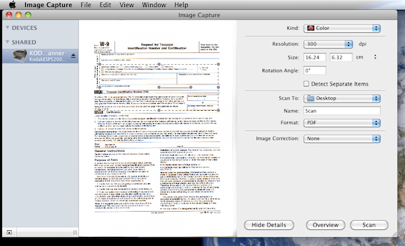 Previewing a Document in Image Capture on Mac OS X