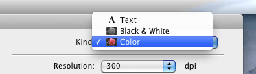 Selecting Scan Kind in Image Capture on OS X