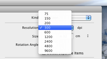 Choosing Scan Image Resolution in Image Capture on OS X