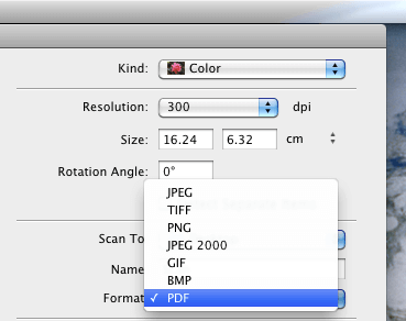 Choosing the Scan Image Format in Image Capture on OS X