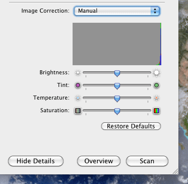 The Image Correction Menu in Image Capture on OS X