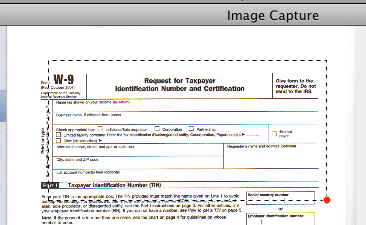 Using the Area Selection Tool in Image Capture on OS X