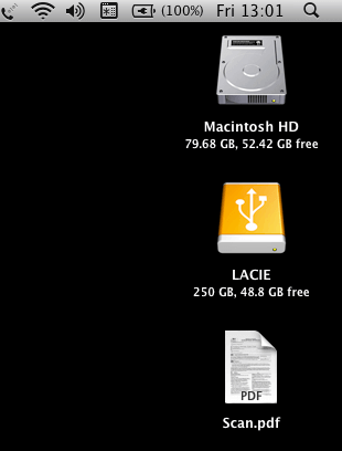 The Resulting Scanned Document on the Desktop in OS X