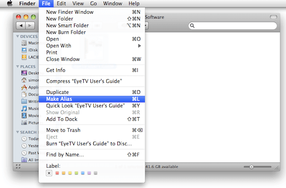 Selecting Make Alias from Finder Menu in OS X.png