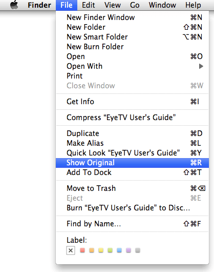 Selecting Show Original from Finder Menu in OS X.png