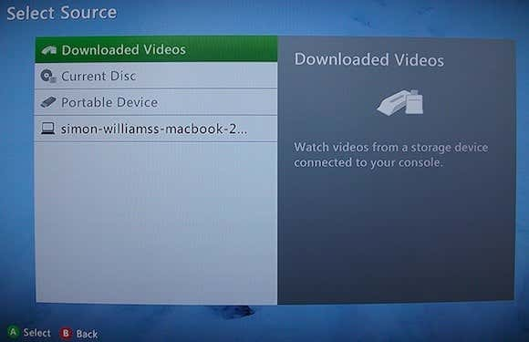 Selecting Mac as Media Source on the Xbox 360.JPG