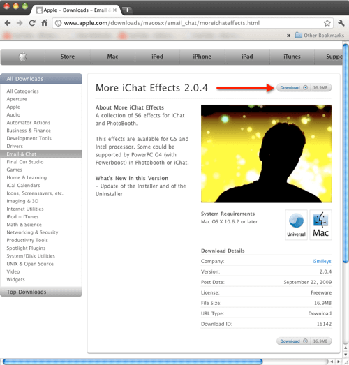Adding Effects To Photo Booth and iChat