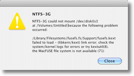 NTFS 3g/MacFuse Error Message