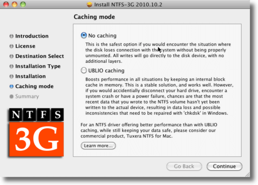 NTFS 3g Caching or No Caching