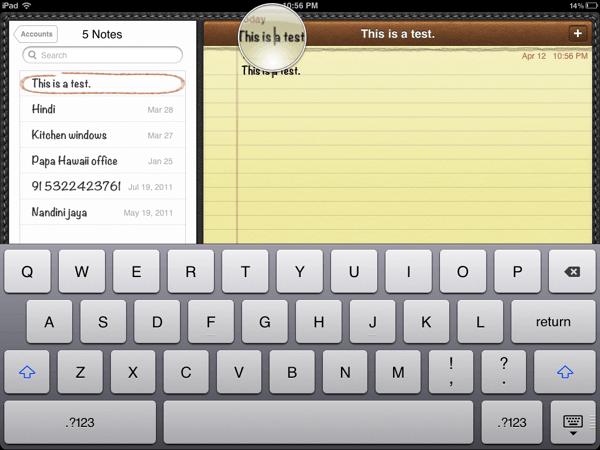 select text ipad