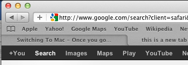 New tab in Safari