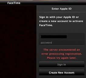 facetime error