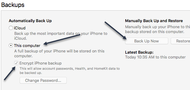 enter password to unlock your iphone backup 2017