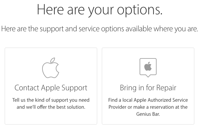 call to set up genius bar appointment